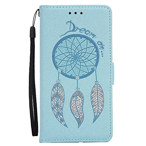JAWSEU Coque pour iPhone 7,iPhone 7 Portefeuille Coque en Cuir,iPhone 7 Cover Flip Wallet Case Ultra Slim,2017 Neuf Femme Homme Luxury Retro Gold/Oro Butterfly Papillon Motif Leather Pu Folio Etui Hou Bleu/Campanule