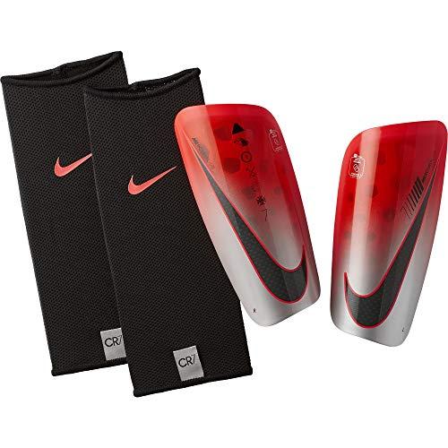 Nike Erwachsene CR7 Mercurial Lite Schienbeinschoner, Flash Crimson/Silver/Black, L (Nike Schienbeinschoner Mercurial)
