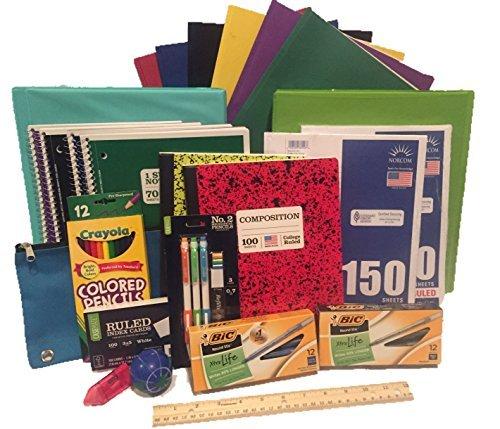 Scuola secondaria supply pack–25oggetti essenziali per college, high school o scuola media. include matite, carta, raccoglitori, computer, cartelle e altro ancora. 25pezzi