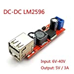 xcluma DC 6V-40V to 5V 3A Double USB Charge DC-DC Step-Down Converter Module for Vehicle Charger LM2596 Dual USB