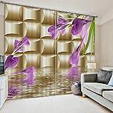 Dream - Curtain Vorhänge 3D Anti-UV Thermal Blackout Print Persönlichkeit Vorhänge 2 Platten Für Wohnzimmer Schlafzimmer Dekor, Öse/Ring Top Window Panels - Orchidee,W203cmH241cm