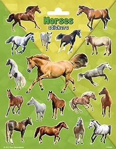 speel Goed 1110069-Papeterie y Pegatinas Stickers paarden Groot, Multicolor