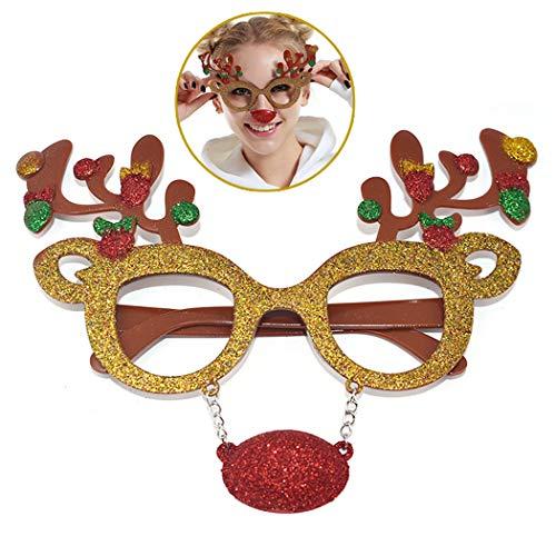 Zoylink Weihnachtsbrille Rahmen Keine Linsen Glitter Brillen Rahmen