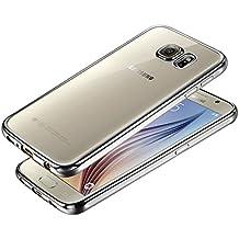 DBIT Galaxy S6 Funda, Alta Calidad Gel Transparente Enchapado TPU Silicona Ultra delgado Protección Funda Durable Estuche Carcasa Case para Samsung Galaxy S6,Plata