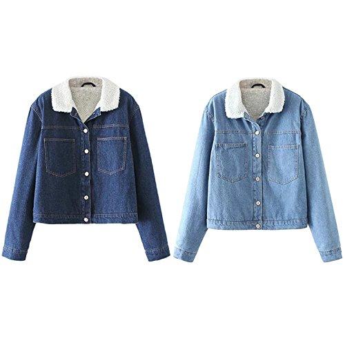 iBaste Manteau de denim pour les femmes doublées de tissu épais et doux chaud couleur unie dans le style de mode garder manteau chaud pour lhiver Bleu clair