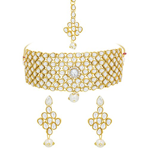 The Luxor White Metal Kundan Choker Necklace With Maang Tikka Jewellery Set...