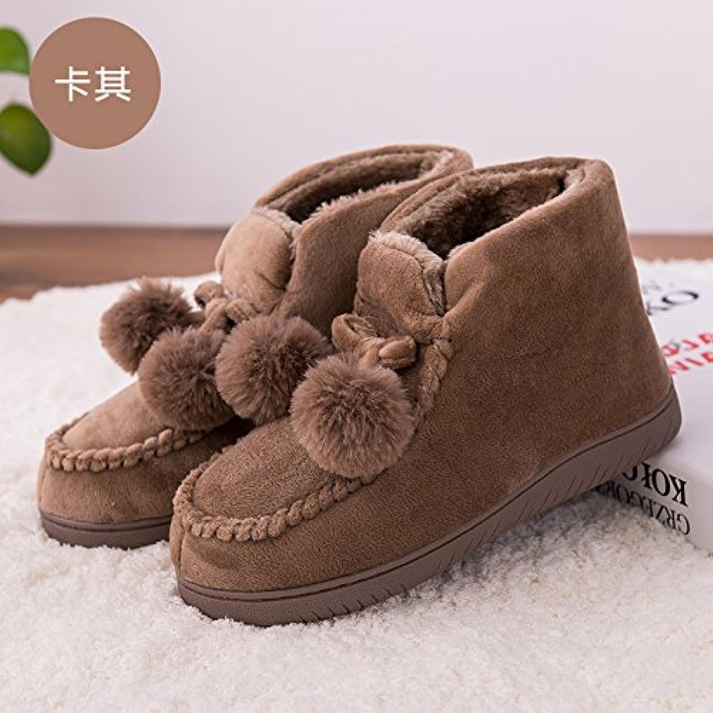 0436dacc619629 laxba fausse fourrure d'hiver d'hiver d'hiver doublure chaude glisse sur la  neige les pantoufles de chaussures pour hommes khaki39-40 correspond à 38  39 ...