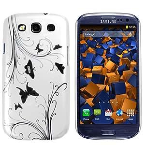 mumbi Coque Plastique Rigide Dure Samsung Galaxy S3 i9300 – Housse Etui Protecteur (arrière rigide) poche Étui Blanc motif moderne fleurs et papillons