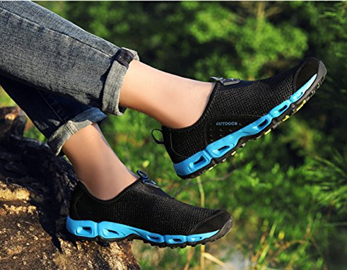 Chaussure de randonné mixte adulte homme femme mesh respirent basket mode outdoors sneakers cross-country Noir