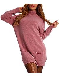 Damen Oversize Strickkleid Long Pullover mit Rollkragen