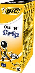 BIC Orange Grip Ball Pen Translucent Barrel 0.8mm Tip 0.2mm Line Black Ref 811925 [Pack of 20]