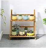 Nwn 2 Tier Flowerpot Leiter Falten Bambus Blumen Rack Display Regale für Wohnzimmer Balkon