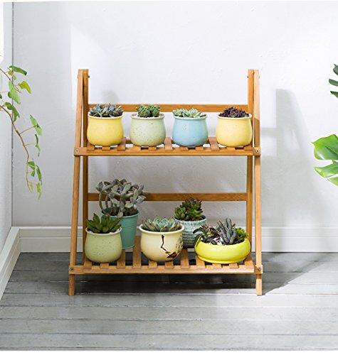 BR 2 niveaux Flowerpot échelle Pliant bambou fleur présentoirs pour balcon de salon