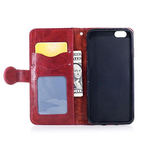 PU iPhone 7 Plus (5.5 Zoll) Hülle Lederhülle Flip Wallet Cover PU + TPU Tasche PU Schutz Etui Schale Schutzhülle Für Apple iPhone 7 Plus (5.5 Zoll) mit Magnetverschluss Magnetic Flip Bookstyle Multi-F 9