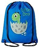 Aminata Kids - Kinder-Turnbeutel für Junge-n und Mädchen mit Jurassic T-Rex Urzeit-Tier Vulkan Dino-saurier Sport-Tasche-n Gym-Bag Sport-Beutel-Tasche blau grün grau Dino-Baby