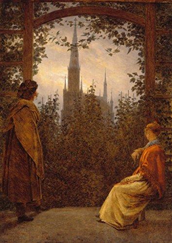 Kunstdruck/Poster: Caspar David Friedrich Gartenlaube - hochwertiger Druck, Bild, Kunstposter, 70x100 cm
