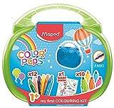 Maped Color'Peps Malette de Coloriage pour Bébé et Enfant dès 1 an - Kit Premier âge avec 10 Feutres Jumbo + 12 Craies de Cire Jumbo + 1 Poster Géant à Colorier