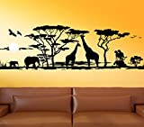 Wandora G012 Afrika Savanne Giraffe Elefant Steppe Wandaufkleber Wandsticker schwarz (BxH) 150 x 46 cm