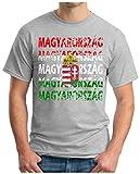 OM3® - MAGYARORSZÁG - T-Shirt Hungary Ungarn Fussball World Cup Soccer Fanshirt Sport Trikot, L, Grau Meliert
