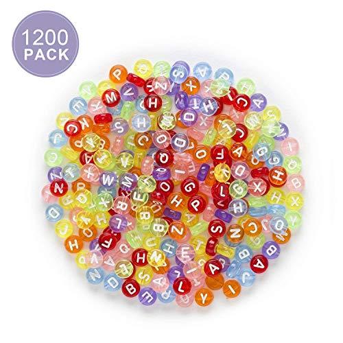 Reastar Alphabet Buchstaben Perlen 1200 Stück Bunte Rund Buchstaben Perlen A-Z Perlen Geeignet für Armbänder Auffädeln, Halsketten, Schlüsselanhänger und Kinderschmuck