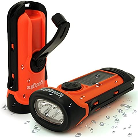 iGadgitz Xtra 5m Waterproof Eco Rechargeable Solar & Hand Crank LED Torch Flashlight with 5 Year