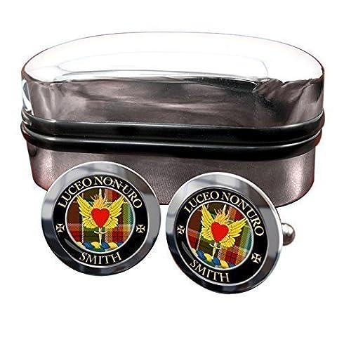 Smith Clan écossais pour homme Écusson Chrome Boutons de manchette avec coffret cadeau