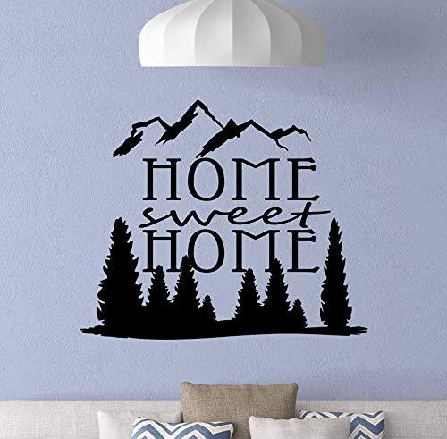Dozili Wandtattoo, Motiv Home Sweet Home mit Bergen und Familienschild, Vinyl, 68,6 x 55,9 cm