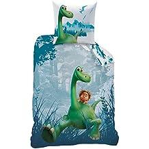 Dino Niños cama de diseño · Disney Arlo & Spot · Reversible dinosaurio · Azul, Verde, Turquesa · 2piezas · almohada 80x 80+ Funda Nórdica 135x 200cm; 100% algodón