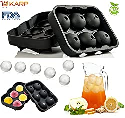 "KARPâ""¢ Flexible Silicone Spherical 6 Round Ball Ice Cube Tray Maker Mold With Lid Perfect Ice Spheres For Whiskey Lovers Cocktails, Non-Alcoholic Beverages,BPA free, FDA approved, 100% food grade silicone - Black Color"