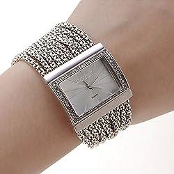 Women's Watch Czechic Diamond Dial Silver Bracelet wristwatch for ladies bracelets bangles Fashion casual quartz wristwatches