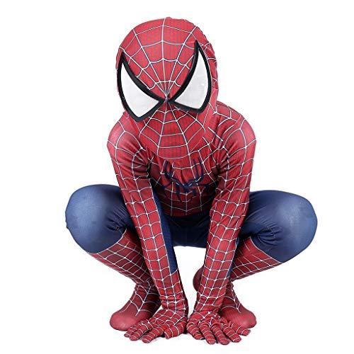 Spider Tanz Kostüm - Klassische Spiderman-Strumpfhose Halloween-Rollenspiel-Bodysuit Kostüme für Kinder Anime-Spiele Overalls Spider-Man-Jungen-Mädchen Onesies-Kleidung,Rot,L