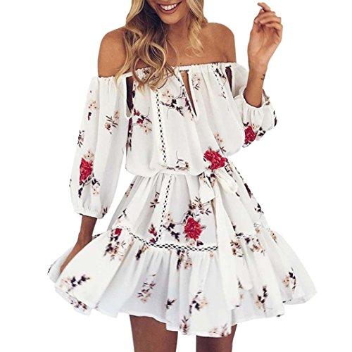 WOCACHI Damen Sommer Kleider Mode Frauen Sommer weg von der Schulter Blumen gedruckten Höhle heraus Loose Partei Strand feenhaftes Weiß Minikleid Weiß