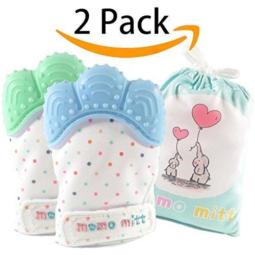 MoMo Mitt mitones de dentición para bebés para aliviar el dolor calmante del bebé, guantes de dentición del mitt dentición bpa gratis, guantes de dentición de masaje, juguetes para la dentición, bebé para bebés de 3-12 meses (azul + verde menta)
