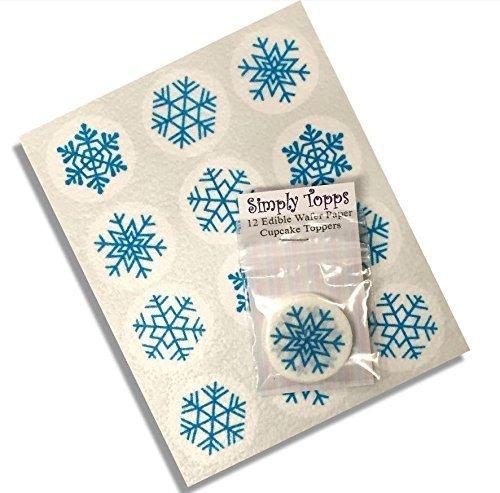 12-Flocon-de-neige-Bleu-nol-motif-nol-papier-de-riz-fe-cup-cake-40mm-toppers-Pr-Dcoup-dcoration