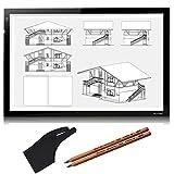 Huion 520 x 320 mm Light Pad Brillo Ajustable Luz de la Mesa Tableros de Dibujo Tablero de Copia LED Drawing Table Copy Box Tattoo Stencil Tracing Board con Kenting Guante de Artista y 2 lápices PCS 4B  (A2)
