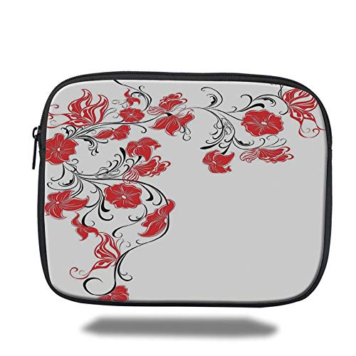 Laptop Sleeve Case,Red and Black,Japanese Asian Decor Flowers Swirls Ivy and Leaves Butterflies Image,Scarlet and White,Tablet Bag for Ipad air 2/3/4/mini 9.7 inch -