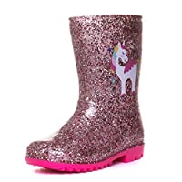 Zone - Girls Pink Unicorn Glitter Wellington Boot