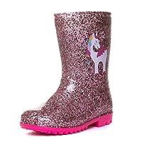 Zone - Girls Pink Unicorn Glitter Wellington Boot