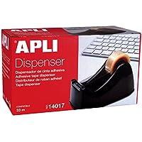 APLI 14017 - Porta cinta adhesiva color negro, compatible cintas 33 m