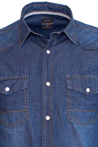 KITARO Vintage Washed Jeans-Hemd dark-blue denim