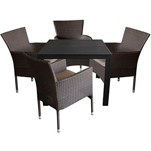 5tlg. Gartengarnitur Aluminium Gartentisch 90x90cm mit Polywood Tischplatte + Rattansessel, stapelbar, Polyrattanbespannung, braun-meliert inkl. Sitzkissen