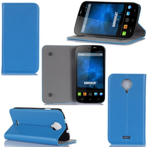 Wiko Darknight Tasche Leder Hülle blau Cover mit Stand - Zubehör Etui Wiko Darknight Flip Case Schutzhülle (PU Leder, Handytasche Blau/Blue) - XEPTIO accessoires