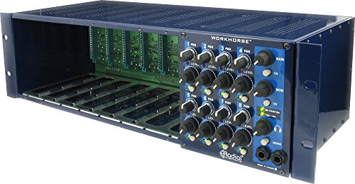 Modulare Audio-rack (RADIAL WORKHORSE 8 SLOTS RACK WITH 8X2 SUMMING MIXER 500 series and modular Lunchboxen)