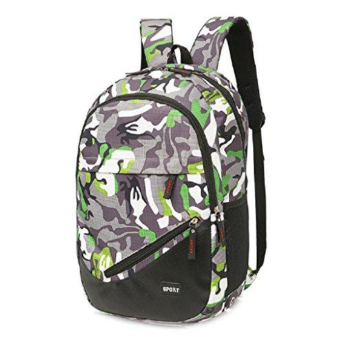 Kangrunmy Le donne sacchetto di ricreazione della tela di canapa Viaggi camuffamento scuola dello zaino Satchel Verde