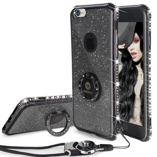 Cover iPhone 6 Plus/6S Plus Glitter Silicone per Ragazze,Kickstand Bling Diamante Brillante Cristallo Lucciante Luminosa Custodia Gel Case per iPhone 6 Plus/6S Plus, 5.5 inch (Trasparente) iPhone 6 Plus/6S Plus Nero