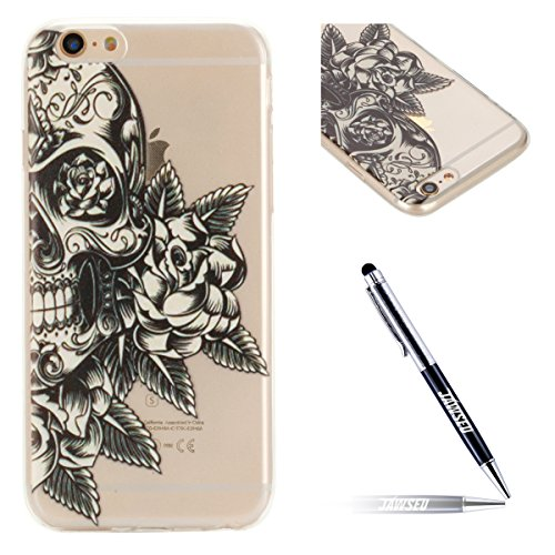 JAWSEU Coque Etui pour iPhone 6/6S 4.7,iPhone 6 Coque en Silicone Transparent,iPhone 6S Souple Coque Ultra Slim Clair Etui Housse,iPhone 6S TPU Gel Protective Cover,Ultra Mince Flexible Soft Clear Cas crâne
