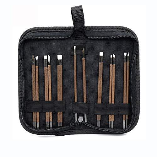 YXMxxm Stein Holzschnitzerei Tool Kit w/Portable Oxford Stoffbeutel Professionelle Wolfram Stahl Steinschnitzwerkzeug (12 Stücke)