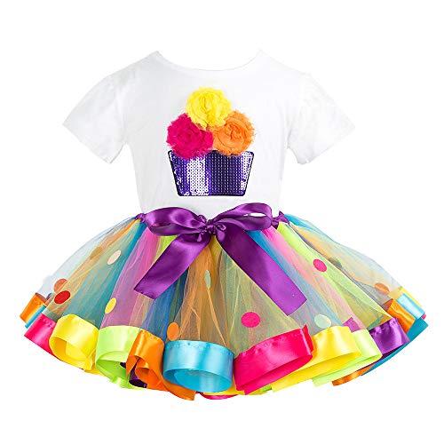 Kinder Geburtstag T-Shirt Tutu Kleid 2 Stück Baby Mädchen Kurzarm Tops Rock Party Outfits 2-3 Jahre Party Kleid Outfit