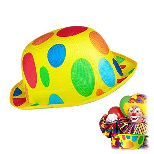 Clown Kostüm Modern - Relaxdays 10024336 Hut Clown, gepunktet,