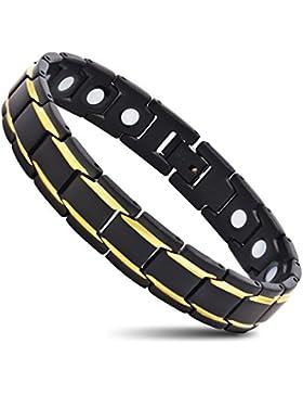 Herrenarmband Edelstahl Magnet Schmerzlinderung für Arthritis kostenlos Link entfernen Tool 21 cm Gold u Schwarz